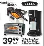 • 12 Cup Deep Fryer • Dual Brew Station • 6 Slice Toaster Oven