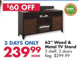 "63"" Wood & Metal TV Stand"