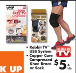 Rabbit TV™ USB System, Copper Care Compressed Knee Brace or Sock