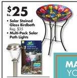 Solar Stained Glass Birdbath