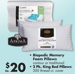 Biopedic Memory Foam Pillows Contour or Traditional, 2 Pk. King Bed Pillows 300 Thread ct. Cover