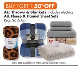 BOGO 50% Off All Throws & Blankets
