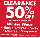 50% Off Winter Clearance