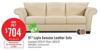 Cindy Crawford Home 91 Quot Layla Genuine Leather Sofa 汉唐 183 布兰登