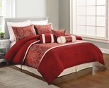 Living Colors™ Queen Jacquard Stafford Maroon 7-Piece Comforter Set