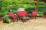 4 Pc. Nantucket Cushioned Resin Wicker Seating Set