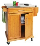 Small Bamboo Stainless-Steel Top Kitchen Cart