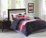 Living Colors Canyon Red & Gray 7-Piece Queen Comforter Set