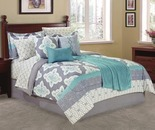 Living Colors Aqua & Gray Tile 12-Piece Comforter Sets