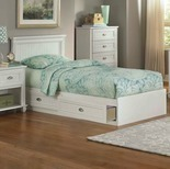 Ameriwood Twin Mates Federal White Storage Bed