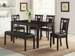 6 Pc. Dining Set with Padded Bench