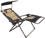 Wilson & Fisher Black & Tan Oversized Padded Zero Gravity Chair with Canopy