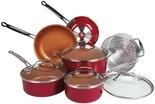 As Seen On TV Red Copper 10-Piece Cookware Set