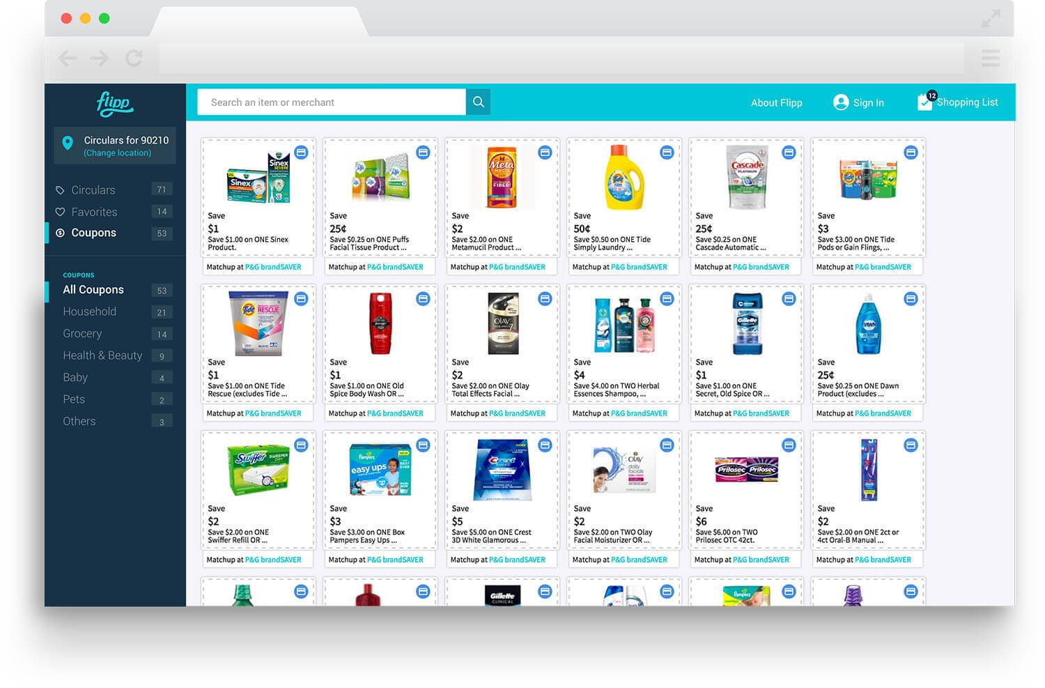 image of flipp.com coupons page