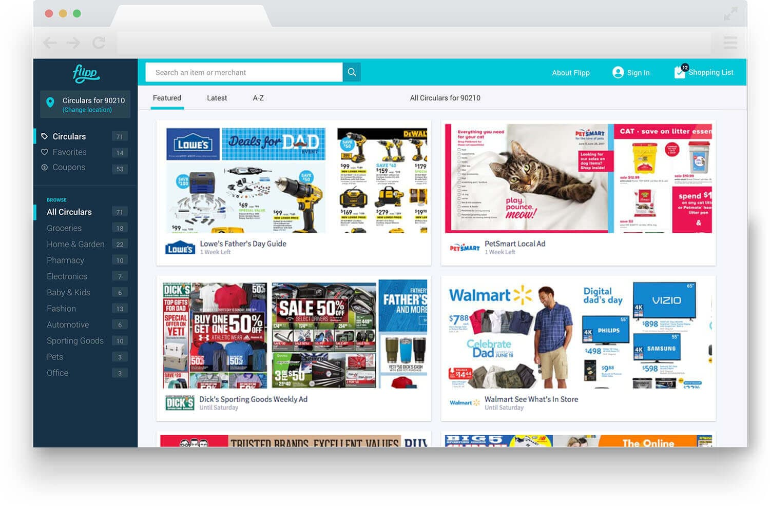 image of flipp.com flyers page