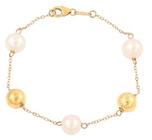 Belk & Co. Women Fresh Water Pearl Bracelet With Beads In 10K Yellow Gold - Yellow Gold - 7.25 In. Deal in Houston