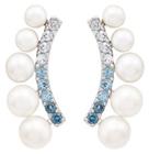 Belk & Co. Women 8.96 Ct. Fresh Water Pearls With 0.86 Ct. T.W. Blue Topaz Earrings In Sterling Silver - Silver Deal in Houston