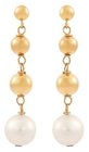 Belk & Co. Women Fresh Water Pearl Drop Earrings With Beads In 10K Yellow Gold - Yellow Gold Deal in Houston