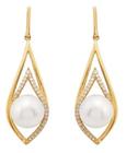 Belk & Co. Women Fresh Water Pearl With 1/5 Ct. T.W. Diamond Earrings In 10K Yellow Gold - Yellow Gold Deal in Houston