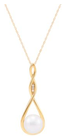 Belk & Co. Women Fresh Water Pearl And 0.015 Ct. T.W. Diamond Pendant Necklace In 10K Yellow Gold - Yellow Gold - 18 In. Deal in Houston