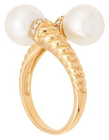Belk & Co. Women Fresh Water Pearl With 0.07 Ct. T.W. Diamond Ring In 10K Yellow Gold - Yellow Gold - 7 Deal in Houston
