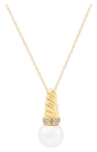 Belk & Co. Women Fresh Water Pearl With 0.05 Ct. T.W. Diamond Pendant Necklace In 10K Yellow Gold - Yellow Gold - 18 In. Deal in Houston