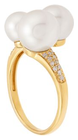 Belk & Co. Women Fresh Water Pearl With 1/8 Ct. T.W Diamond Ring In 10K Yellow Gold - Yellow Gold - 7 Deal in Houston