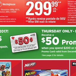 Spend $200 Get $50 Promo Card This Thursday Only- Dec 14 at CanadianTire Only