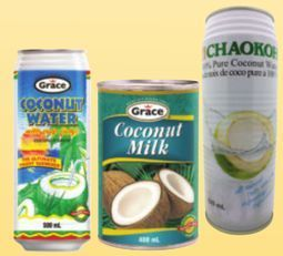 Grace or Chaokoh Coconut Water, Grace or Mili Coconut Milk