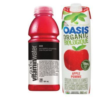 GLACÉAU VITAMIN WATER OR OASIS ORGANIC JUICE