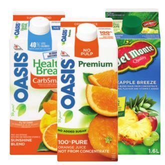 OASIS ORANGE JUICE, HEALTH BREAK OR DEL MONTE REFRIGERATED JUICE