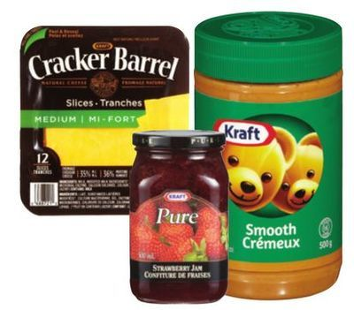 CRACKER BARREL SLICED CHEESE, CHEESE SNACKS, KRAFT PEANUT BUTTER OR JAM