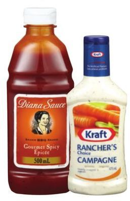 DIANA OR BULL'S-EYE BBQ SAUCE OR KRAFT SALAD DRESSING