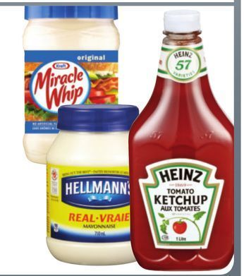 HEINZ KETCHUP, KRAFT MIRACLE WHIP OR HELLMANN'S MAYONNAISE