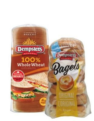 Dempster's Bagels PKG OF 6 OR 100% Whole Wheat, White or Smart Bread 650 - 675 g