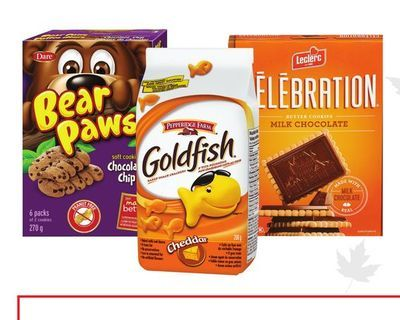 BEAR PAWS OR LECLERC COOKIES, GOLDFISH CRACKERS