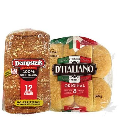 Dempster's Whole Grain Breads, D'Italiano Buns or Wonder Bread