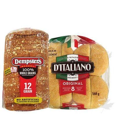 Dempster's Whole Grain Breads, D'Italiano Buns or Wonder Bread