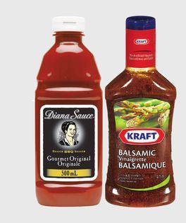 KRAFT SALAD DRESSING, DIANA OR BULL'S-EYE BBQ SAUCE OR MARINADE