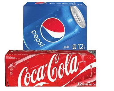 COCA-COLA, PEPSI OR CANADA DRY SOFT DRINKS