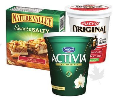 ASTRO OR ACTIVIA YOGURT 650 - 750 g or NATURE VALLEY BARS OR BETTY CROCKER FRUIT SNACKS 120 - 255 g