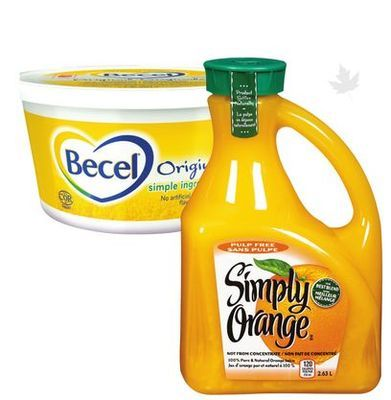 BECEL MARGARINE 680-907 g SIMPLY ORANGE JUICE 5.63 l
