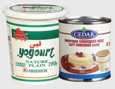 PHOENICIA, HANS DAHI YOGURT, SWEET LASSI DRINKABLE YOGURT OR CEDAR CONDENSED MILK