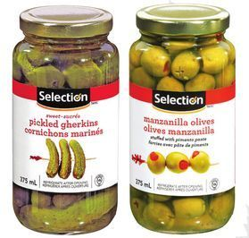 SELECTION SELECTION OLIVES, ONIONS OR GHERKINS