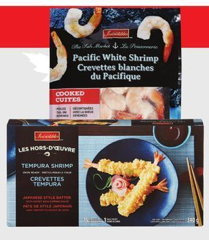 IRRESISTIBLES LARGE COOKED OR RAW PACIFIC WHITE SHRIMP 31/40 SIZE OR TEMPURA SHRIMP FROZEN, 340 g