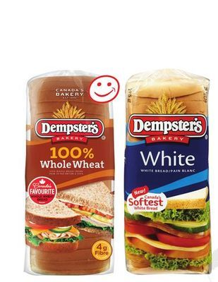 DEMPSTER'S 100% WHOLE WHEAT OR WHITE BREAD