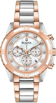 f90603158 Bulova Women's Chronograph Diamond-Accent Two-Tone Stainless Steel Bracelet  Watch 36mm