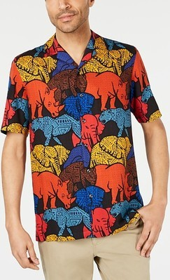 806708074 Tasso Elba Men's Congo Graphic Silk Shirt - Flipp