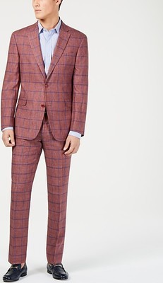 c1aadd4b Tommy Hilfiger Men's Modern-Fit Brick/Blue Windowpane Suit Separates ...