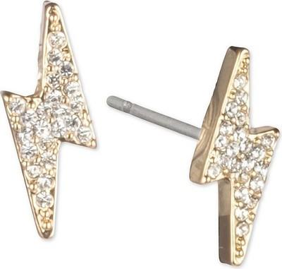 3f1e31cd2 DKNY Gold-Tone Pavé Lightning Bolt Stud Earrings - Flipp